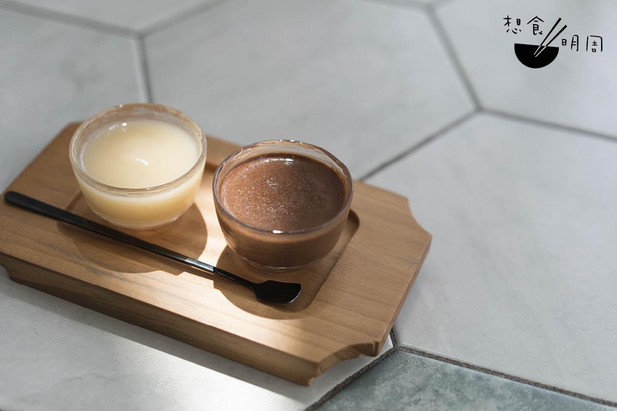 觀塘咖啡店Master Room新推的Cacao Espresso,一小杯便是可可果汁,另一小杯即是75%秘魯Piura水調熱朱古力,正好讓人試出兩者分別。(價錢待定)