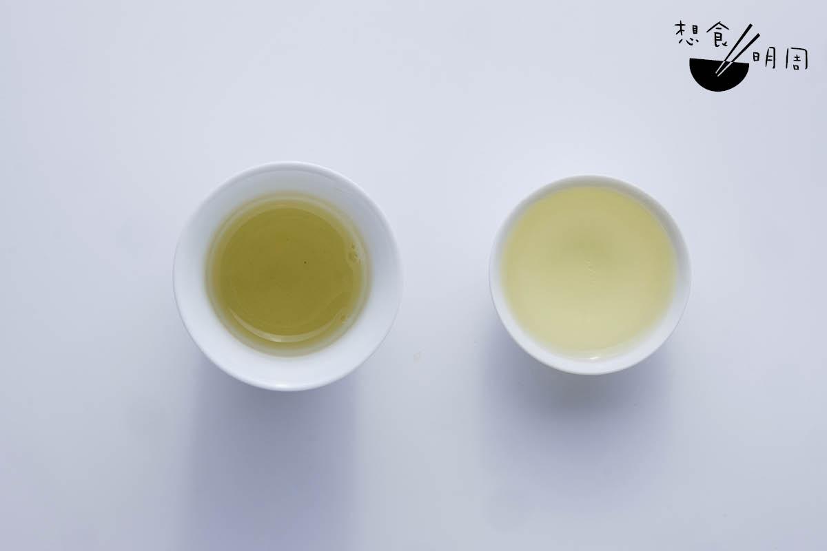 與傳統工夫茶杯(右)相比,「烏龍茶杯」(左)的設計,能增潤茶湯顏色及香氣。