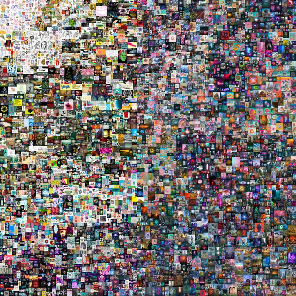 Beeple,《每一天:前5000天》,2021年作,今年三月以逾6,900萬美元在佳士得拍賣會上成交。作品為藝術家Beeple自二○○七年到二○二一年,每日創作合共五千日的圖像作品合集。