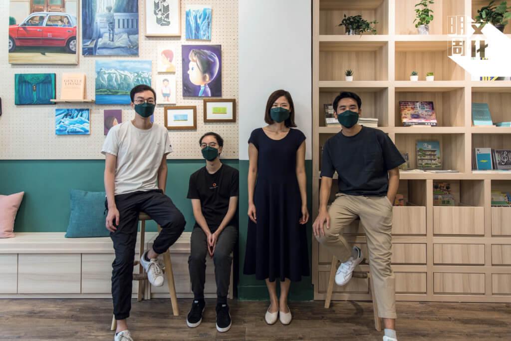 四位店長今年於西環開設新書店hiding place。(左起:Gabriel、Michael、Joanne,Kenneth)