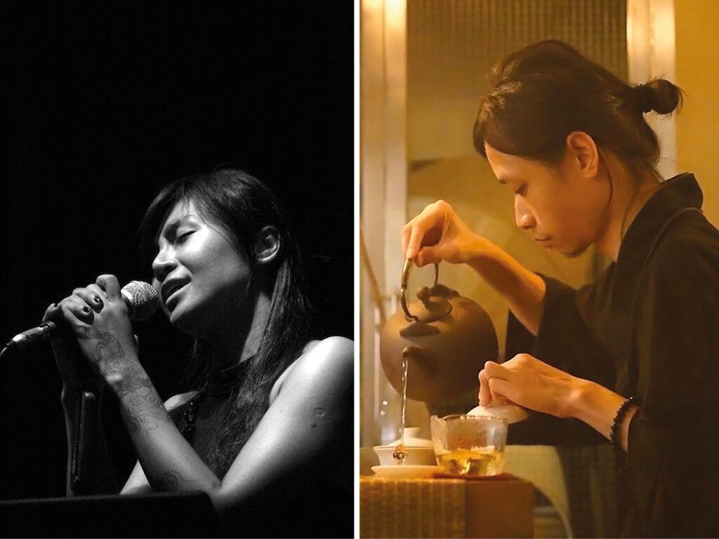 (左起)工作坊創作人:李安琪(演唱/冥想指導);李天安(茶藝)