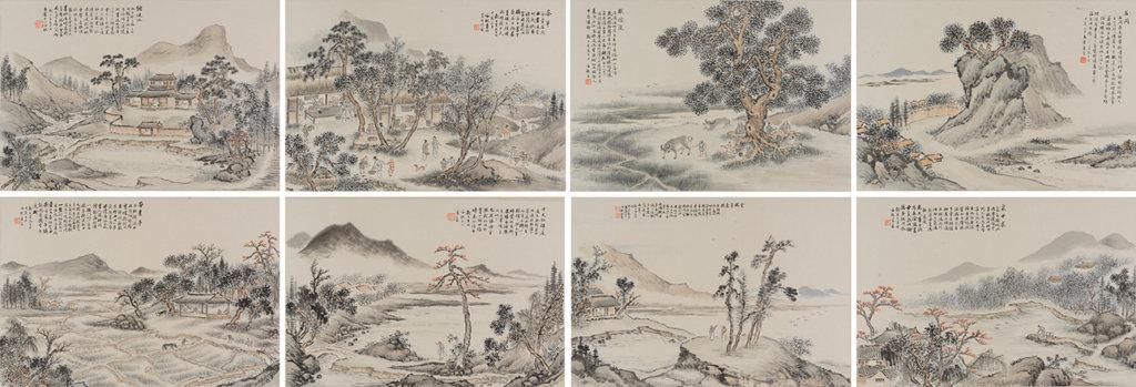 崔芹(1846-1915)《瑤溪二十四景冊》(選頁)1914