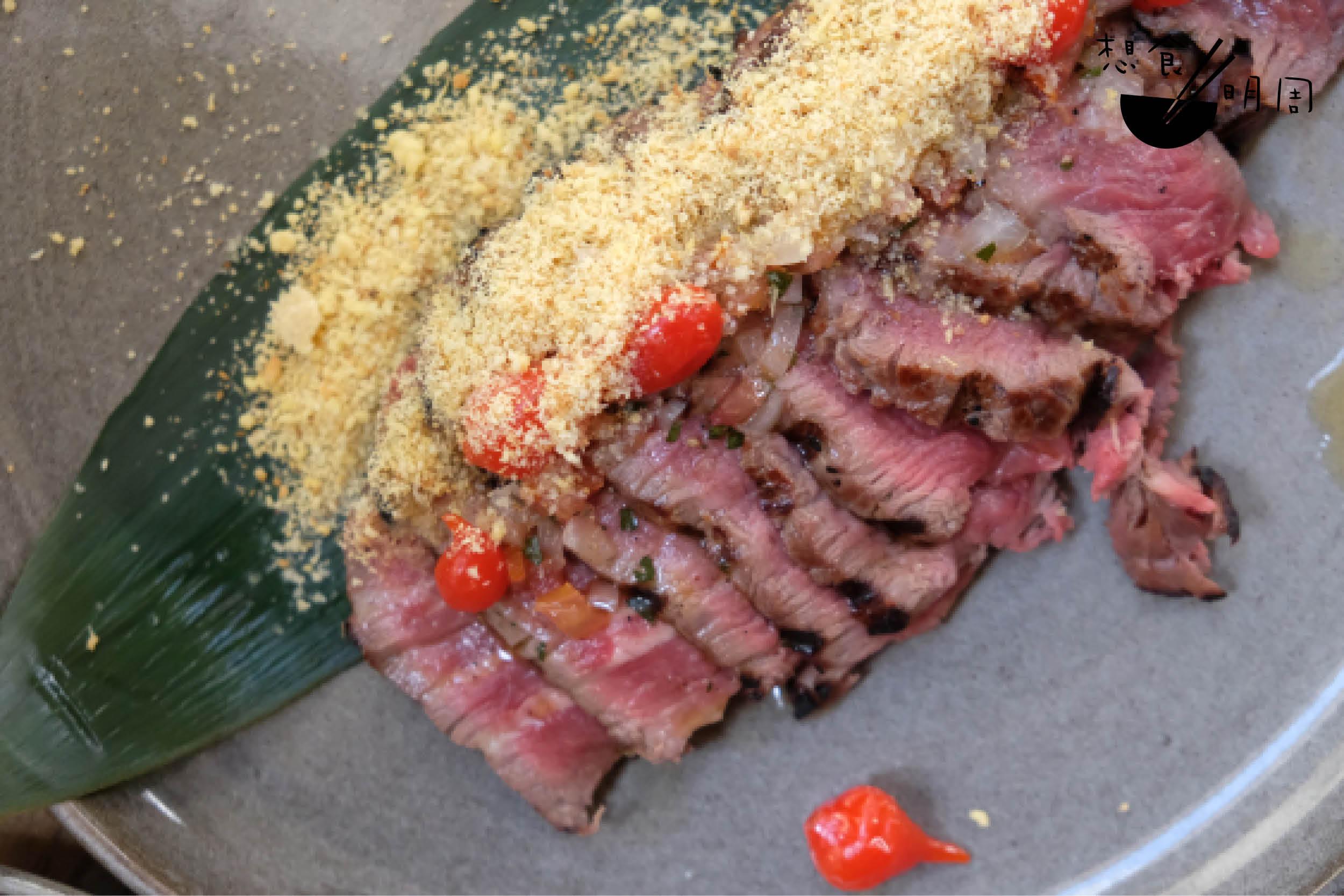 鹽燒牛脊肉配烤木薯粉