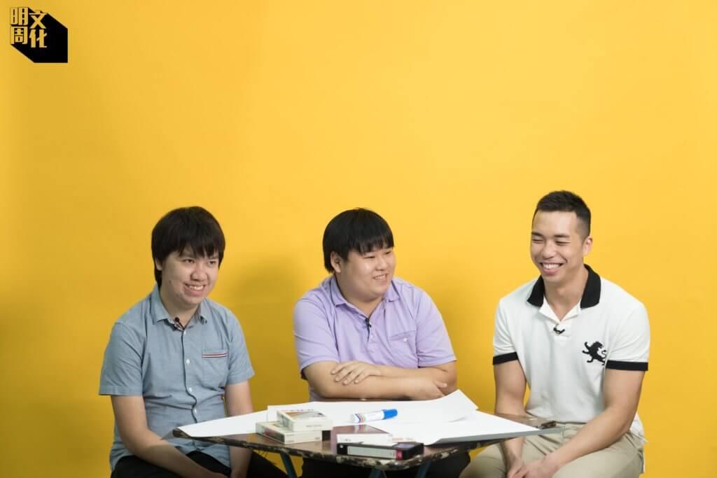 左起:Samuel、Michael、Ricky,在網上惺惺相惜,成為影視文化保育組織的成員。