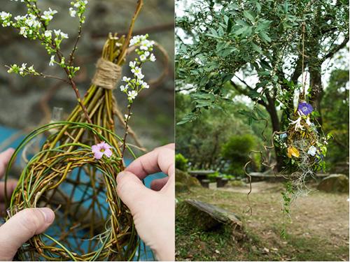 (左)(右)師法自然而又創新,編一個鳥居來插花。