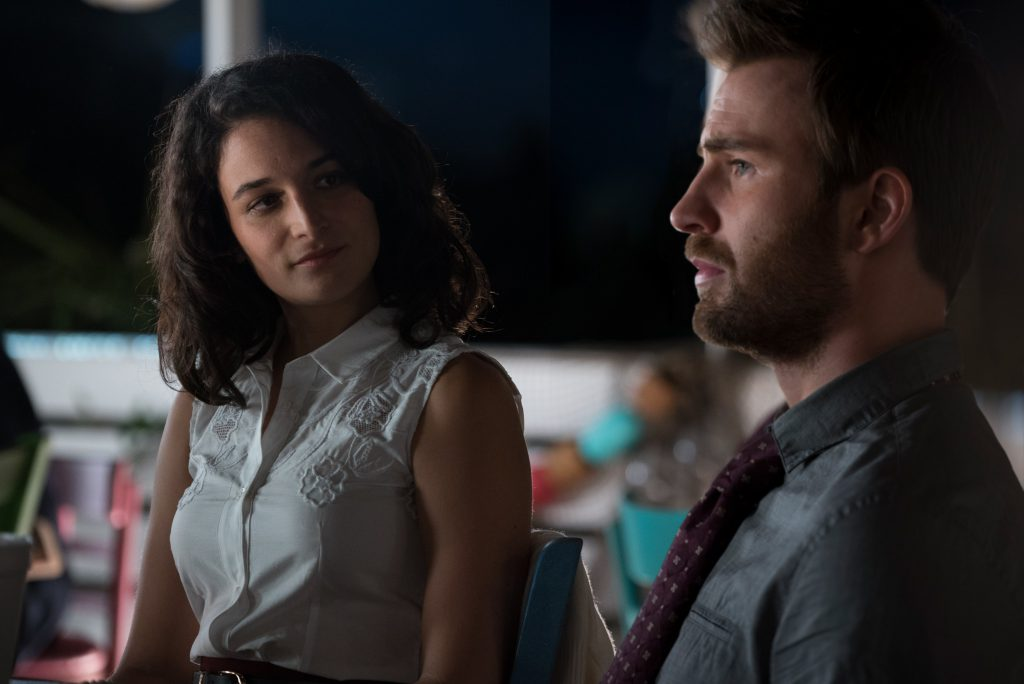 """Jenny Slate as """"Bonnie"""" and Chris Evans as """"Frank Adler"""" in the film GIFTED. Photo by Wilson Webb. © 2017 Twentieth Century Fox Film Corporation All Rights Reserved."""