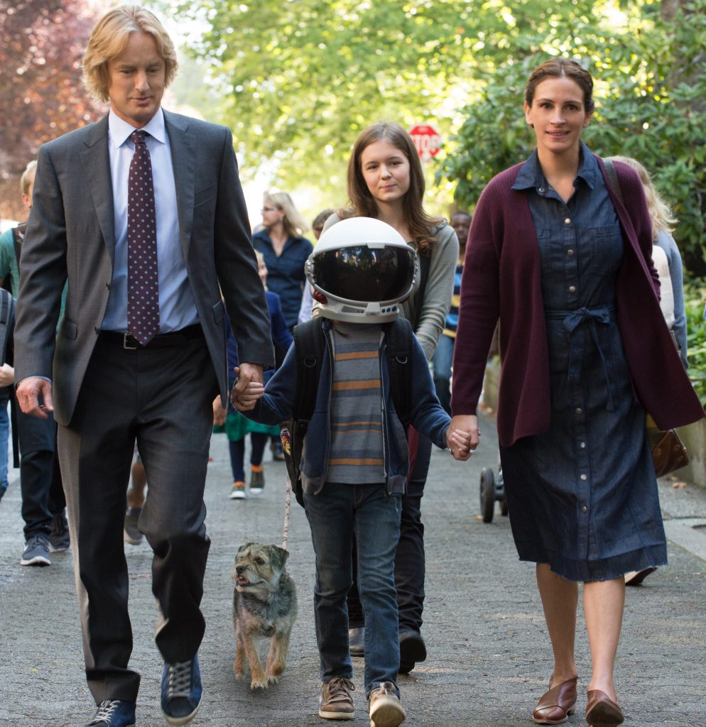 "From L to R: Owen Wilson as ""Nate,"" Jacob Tremblay as ""Auggie,"" Izabela Vidovic as ""Via"" and Julia Roberts as ""Isabel"" in WONDER. Photo by Dale Robinette."