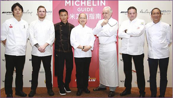 謝霆鋒與六位共囊括14粒米芝蓮星級名廚關秀道、Noah Sandoval、譚國鋒、Alain Ducasse、Fabrice Vulin、鄺偉強。