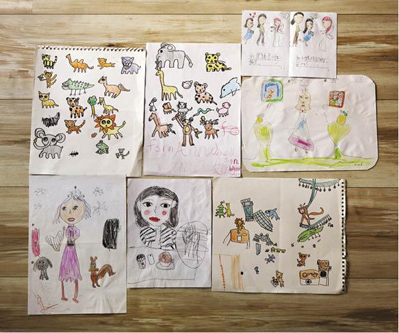 Wayne女兒的畫作經常出現人物及動物,亦成為他的創作靈感來源。