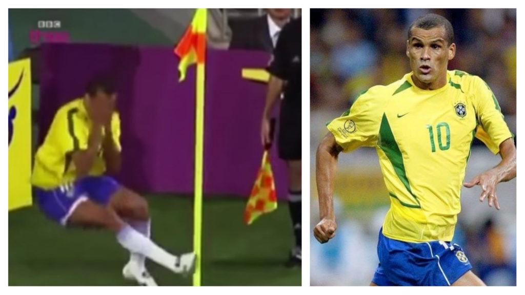 巴西李華度2002年在角球位置被波「省」到雙手遮臉倒地,演技浮誇。