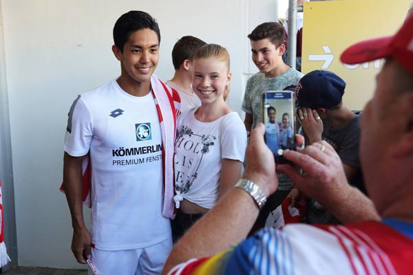 "•""¡‰Ã‹I/Yoshinori Muto (Mainz), JULY 8, 2017 - Football / Soccer : Pre-season friendly match between 1. FSV Mainz 05 2-1 Alemannia Aachen at Stadion am Bruchweg in Mainz, Germany. (Photo by AFLO)"
