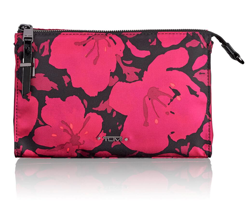 Voyageur 系列洋紅色花卉圖案 Basel Triangle 拉鏈小物袋 $890