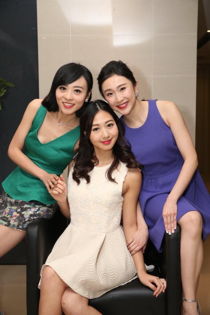 亞姐香港賽區冠軍梁雪瑤(中)、亞軍張右雨(右)及季軍李孜沬將一起出戰馬六甲總選。