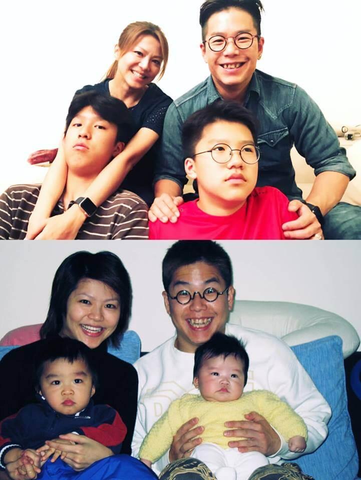 近年流行新舊對照,林曉峰和康子妮由手抱兩個BB,變成抱着兩個少年了。