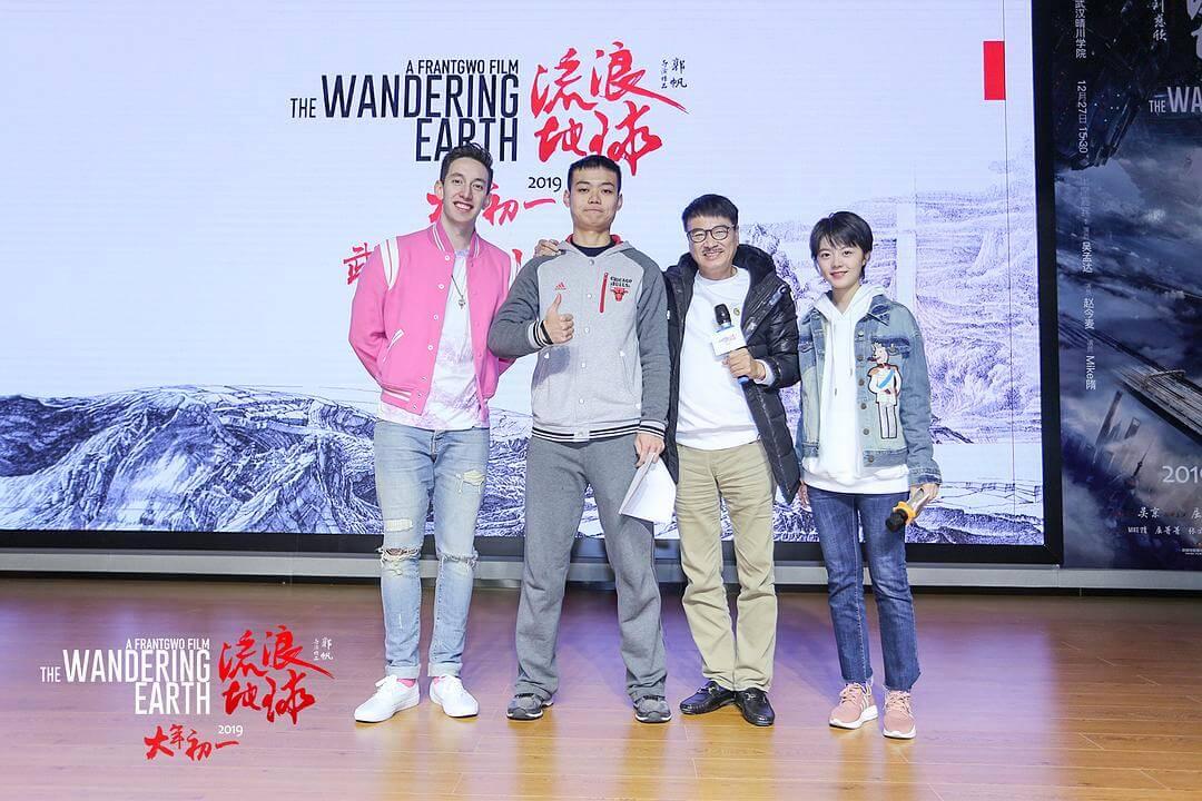 達哥亦有出席上海首映,左為中和美混血演員隋凱,右為女主角趙今麥。