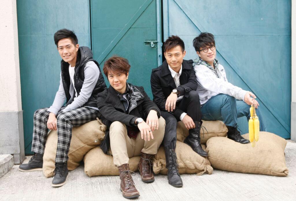 《天與地》中(左起)羅鈞滿、張景淳、楊潮凱、梁証嘉飾演band友主角的年輕版,楊潮凱是年輕版陳豪。