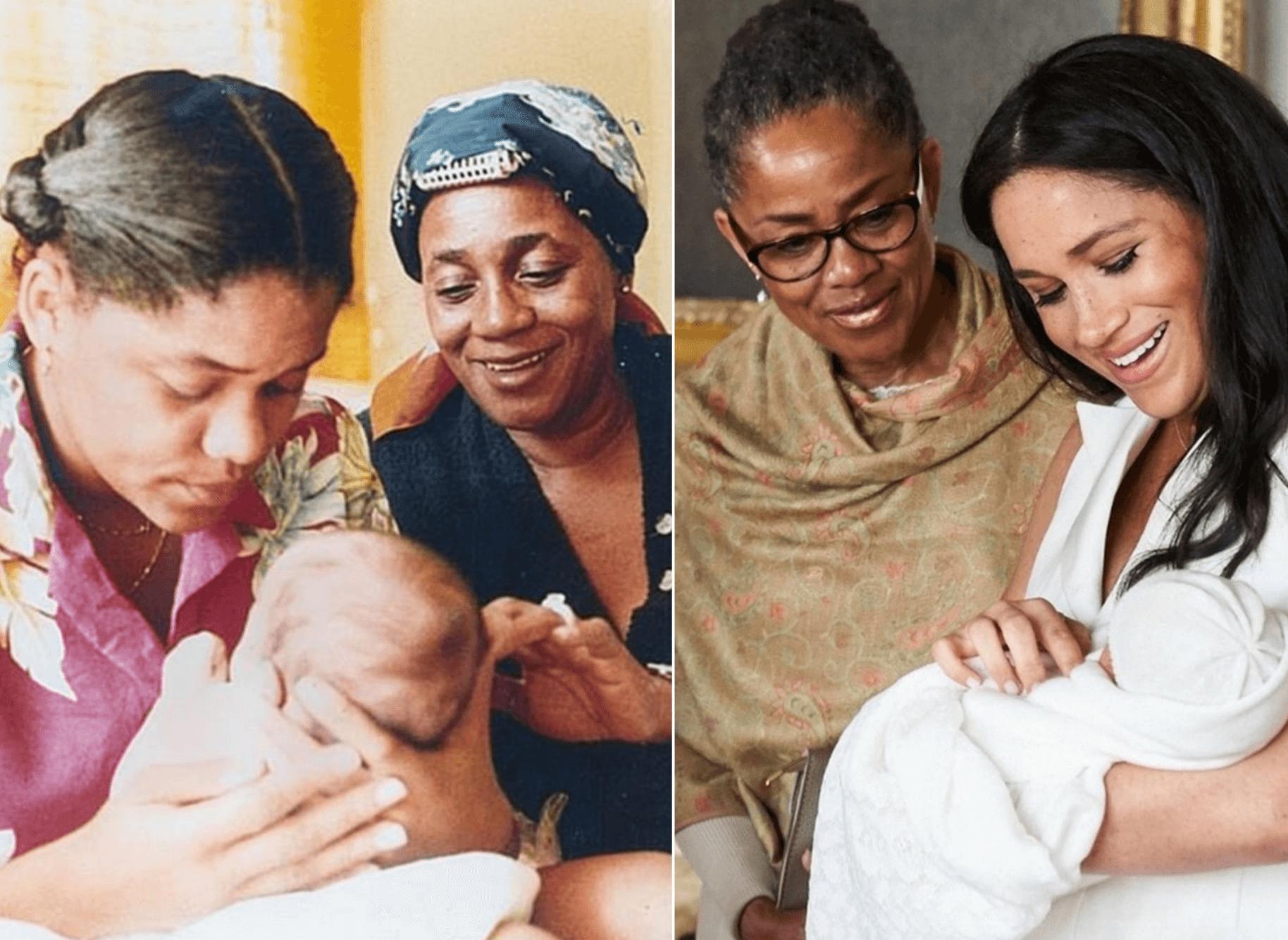 1981- 梅根寶寶,梅根媽媽Doria 和 Doria的媽媽Jeanette / 2019 - 阿奇寶寶 ,梅根和梅根媽媽Doria