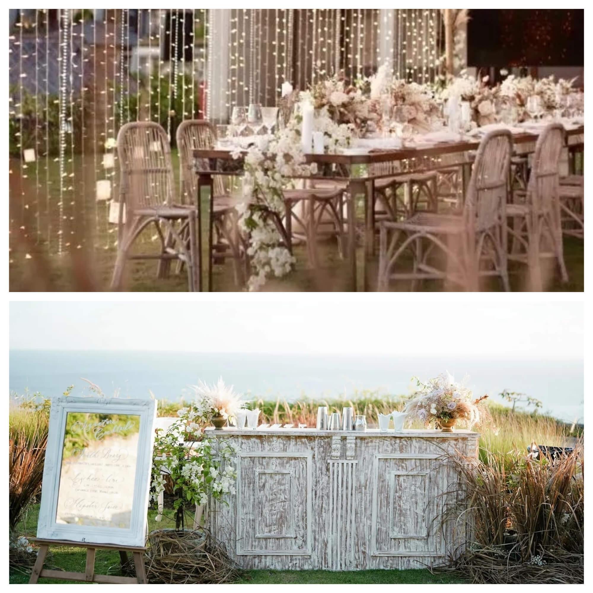 設計師巧妙的運用金黃色蒲葦茅草、乾枯金錢花等,營造出有層次感的大自然美