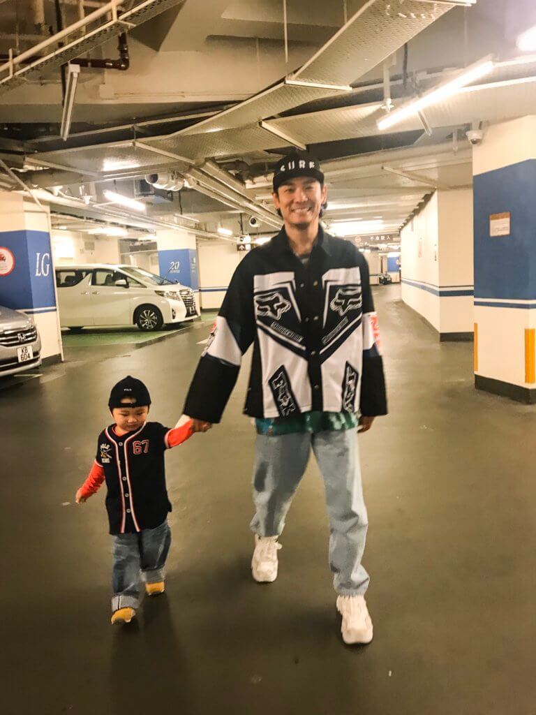 Saturday Daddy Hat: STAMPD Jacket: Coté Mer T-shirt: Gosha Rubchinskiy Jeans: Gosha Rubchinskiy Sneakers: N21 Son Hat: Ralph Lauren Kids Top: Ralph Lauren Kids Jeans: Go to Hollywood Sneakers: Converse