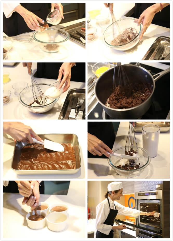 1.將麵粉及可可粉混合一起 2.將牛油加熱溶解成液態狀,再加入麵粉及可可粉。 3.加入牛奶並以小火加熱,至濃稠狀態。 4.將朱古力加熱溶解,再混入以上材料,加入蛋黃攪拌。 5.完成梳乎里底漿,倒入平底容器,放涼至室溫便可。 6.將蛋白打至挺身,逐少將糖混入蛋白內。.將之前的梳乎里底漿倒入攪拌大碗內,打好的蛋白分三次混入,避免起粒。 7.將梳乎里放入擠花袋, 一次過擠出小碗內,不能斷斷續續,擠至八成滿便可。 8.預熱焗爐200度,約焗十二分鐘。