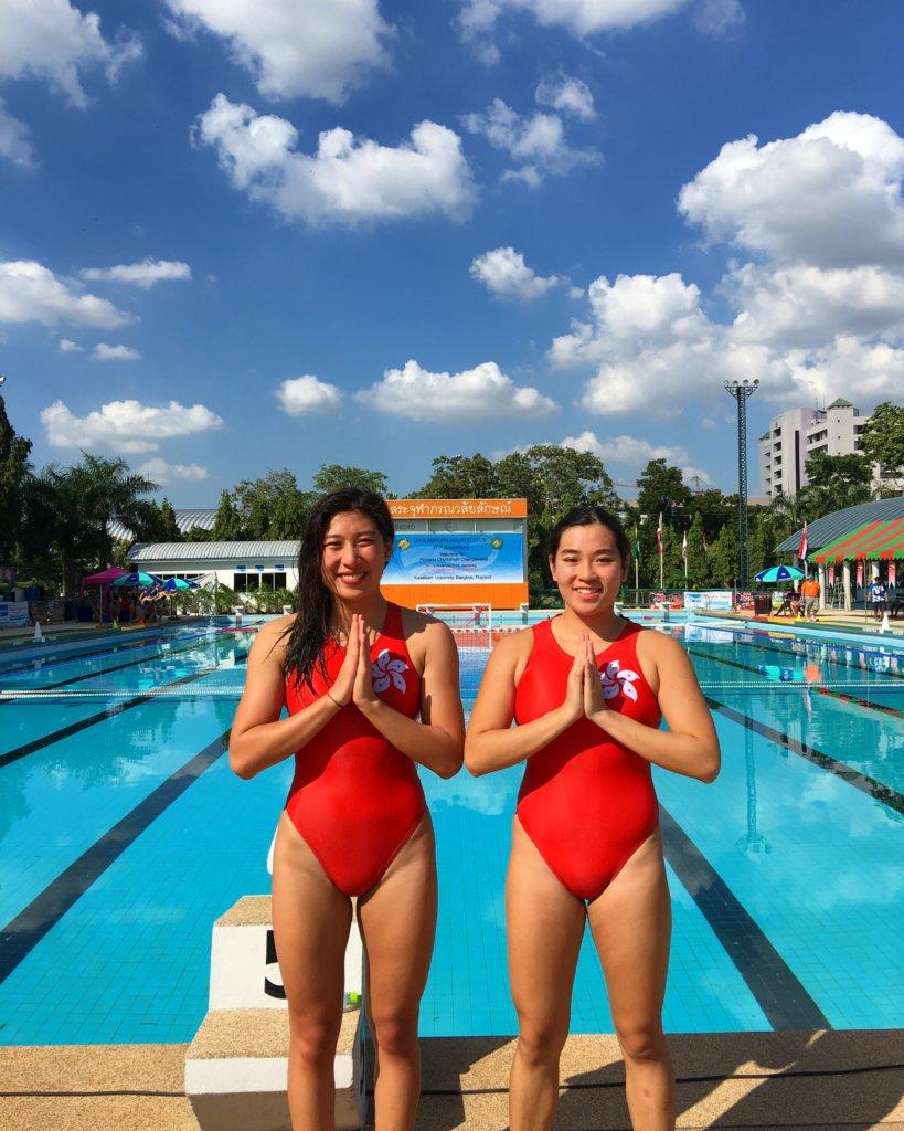 梁雅昀和丘穎思去年到泰國參加水球比賽
