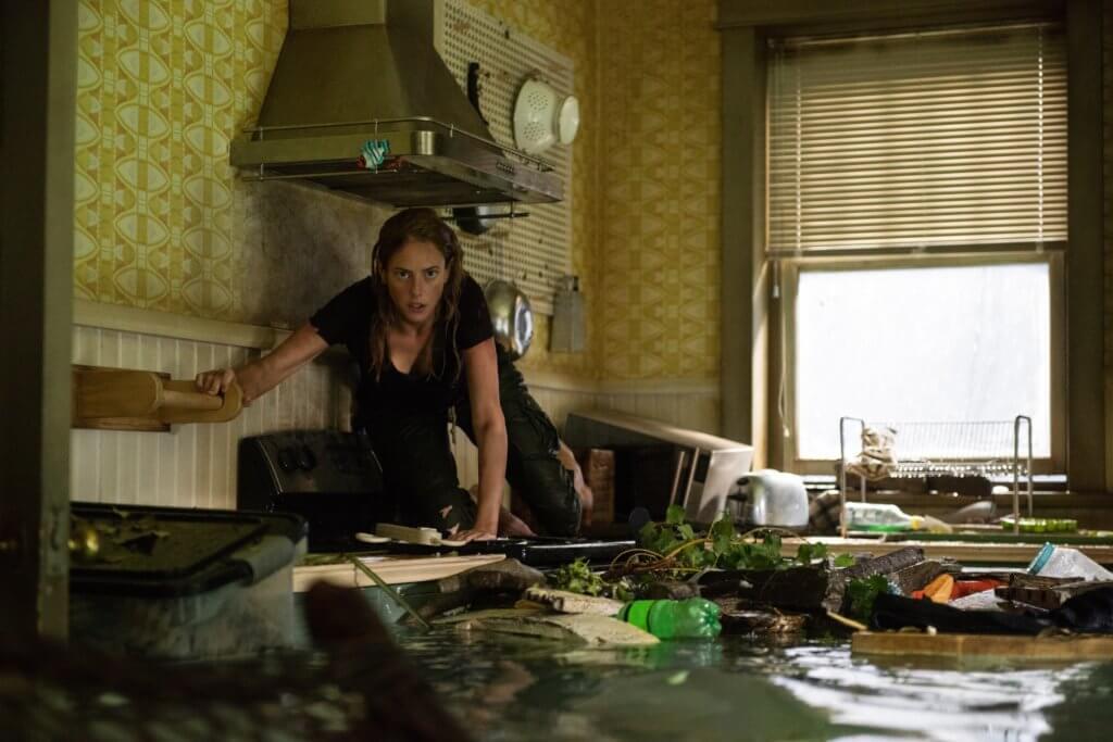 遇上颶風與凶猛羣鱷雙重威脅,女主角全片濕晒身。