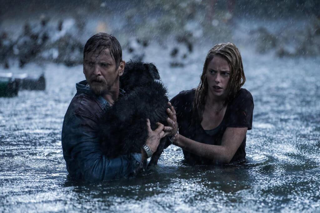 卡雅史葛拉迪奧與巴里佩珀飾演的兩父女,被凶鱷咬到周身傷。