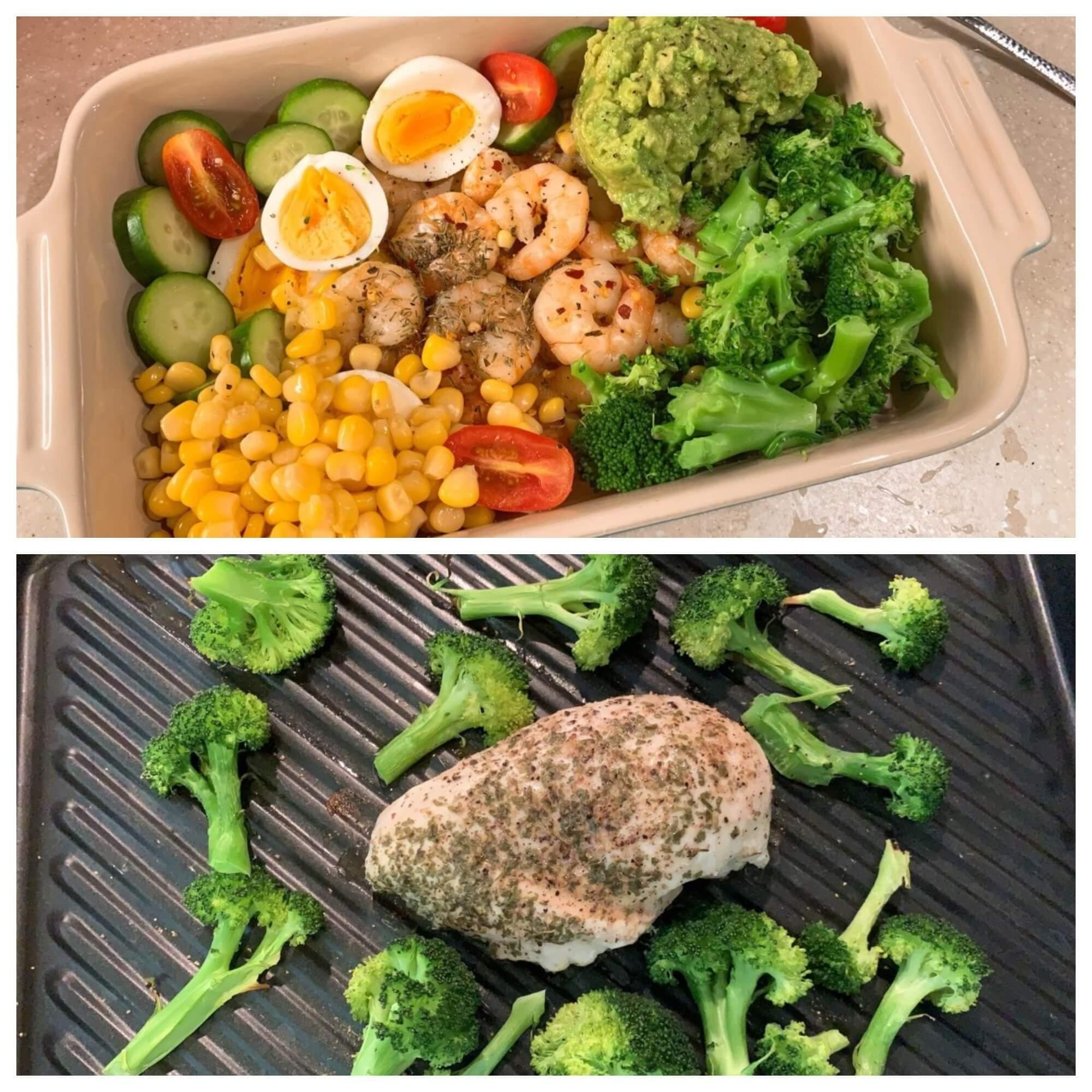 減肥餐單以蔬菜及蛋白質食品為主,配自製牛油果醬汁。