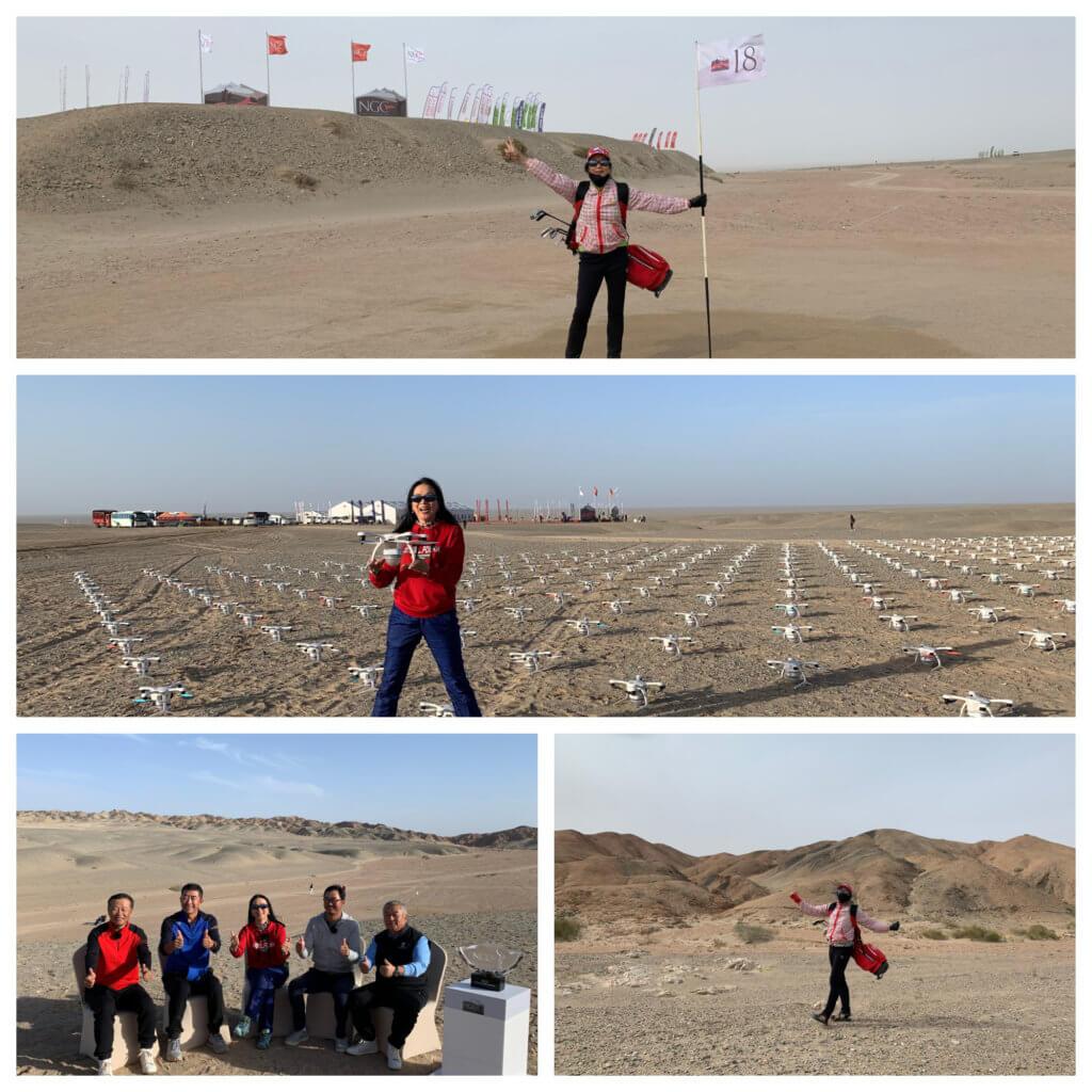 沙漠高爾夫球場由航拍機定位設置