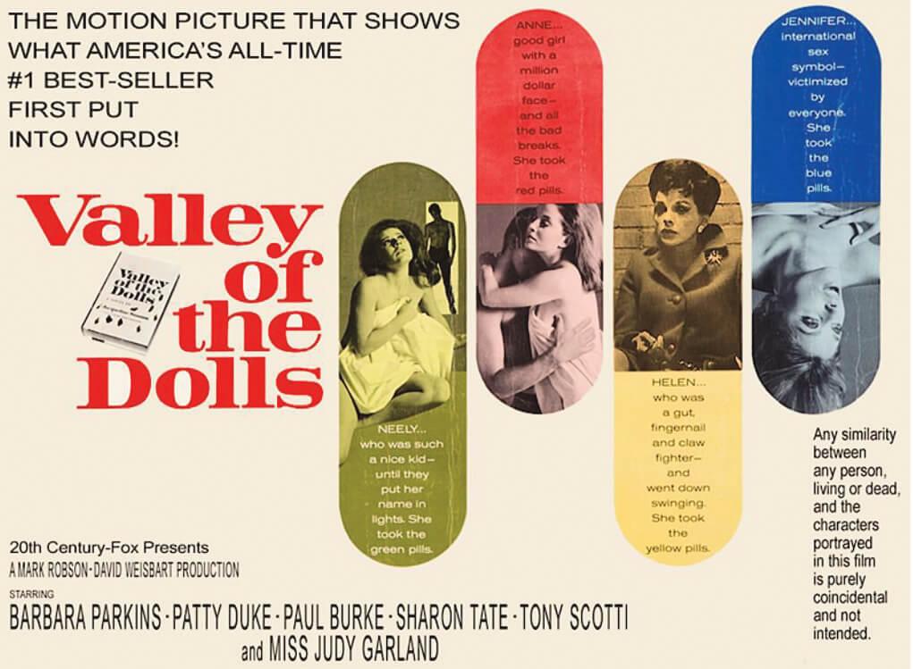 電影版《娃娃谷》首發宣傳品,出演過氣大女明星的是茱迪嘉蘭。