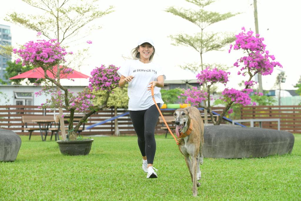 鄭融第一次做領養者,是一隻體重跟她相近的格力犬。