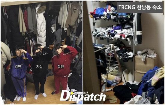 十位成員的衣服非常多,剩下可供活動的空間不多。