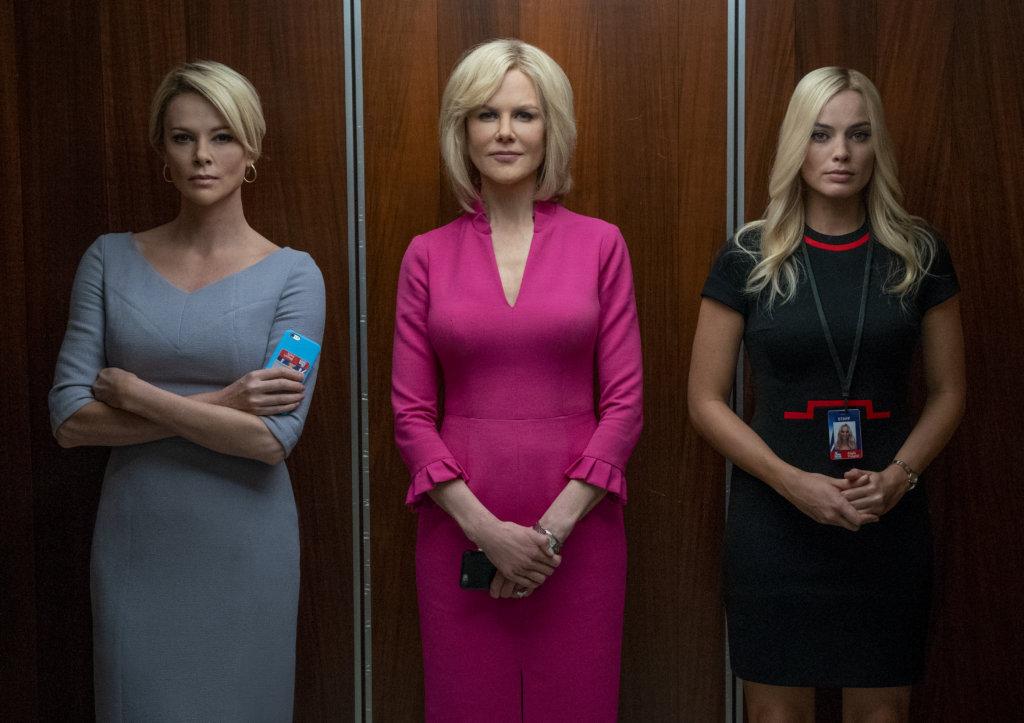 (左起)查理絲花朗、妮歌潔曼及瑪歌羅比,在《爆炸性醜聞》飾演性侵受害女主播,各有各風采。
