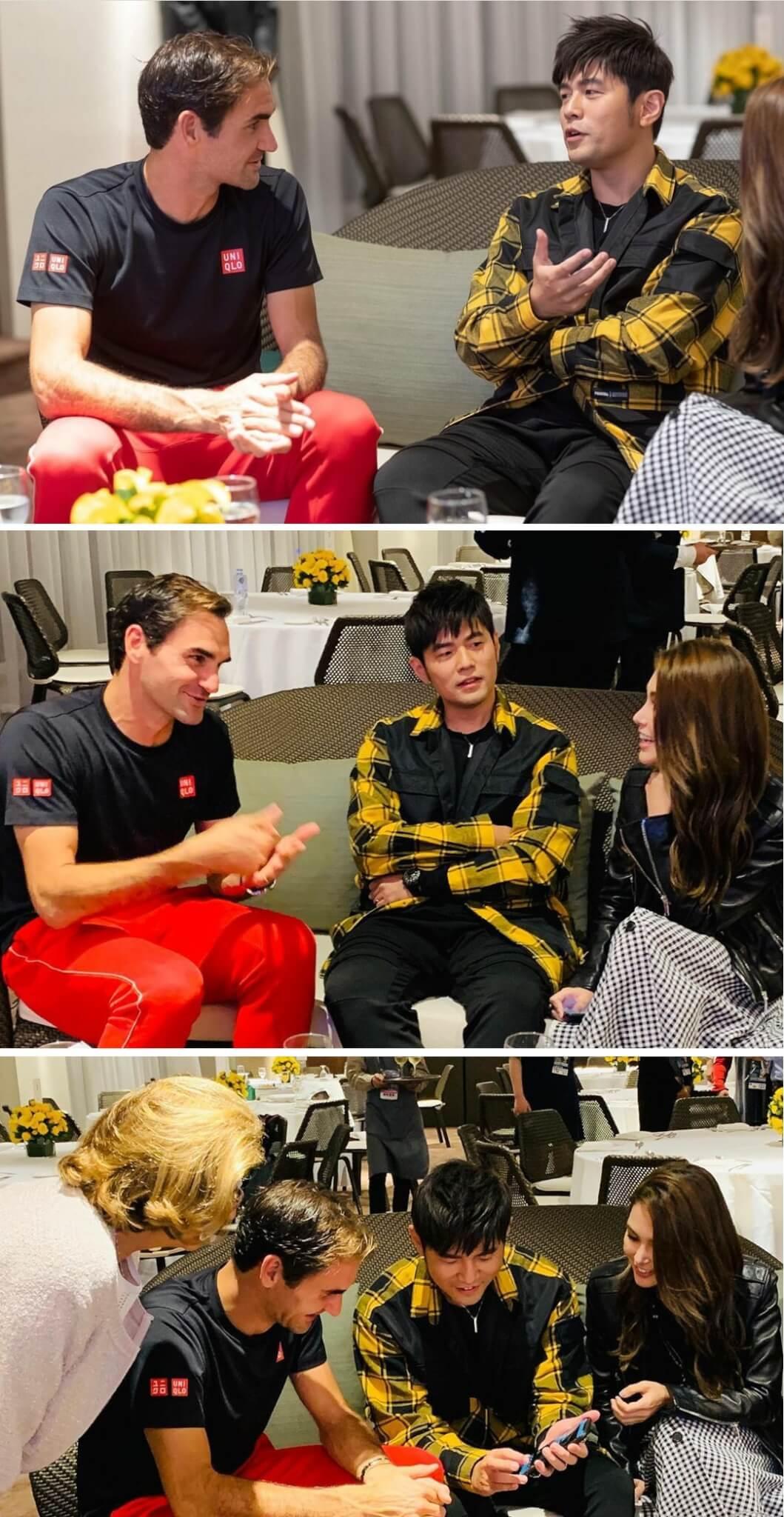 周董與昆凌於去年十月到上海欣賞網球大師賽,在後台休息室與費達拿見面,言談甚歡。