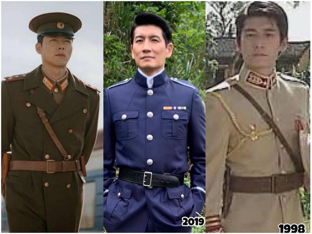 袁文傑也加入惡搞行列,更拿出一九九八年在《我來自廣州》的軍裝造型來互相較勁。