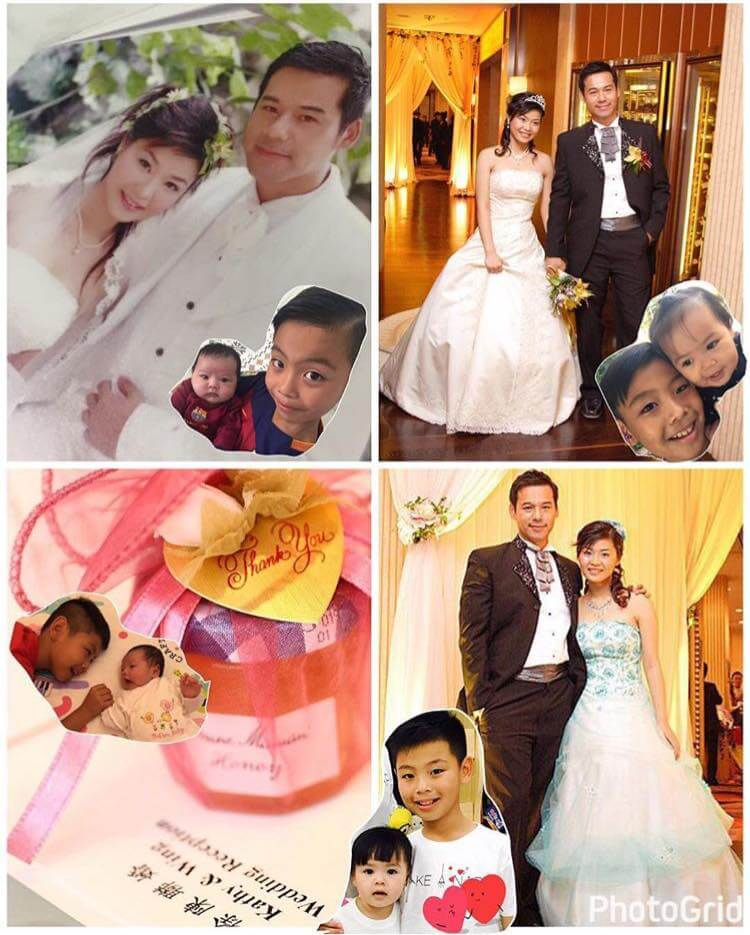 徐榮在網上公開結婚照,不忘加上一對子女在旁邊,全家人齊齊整整。