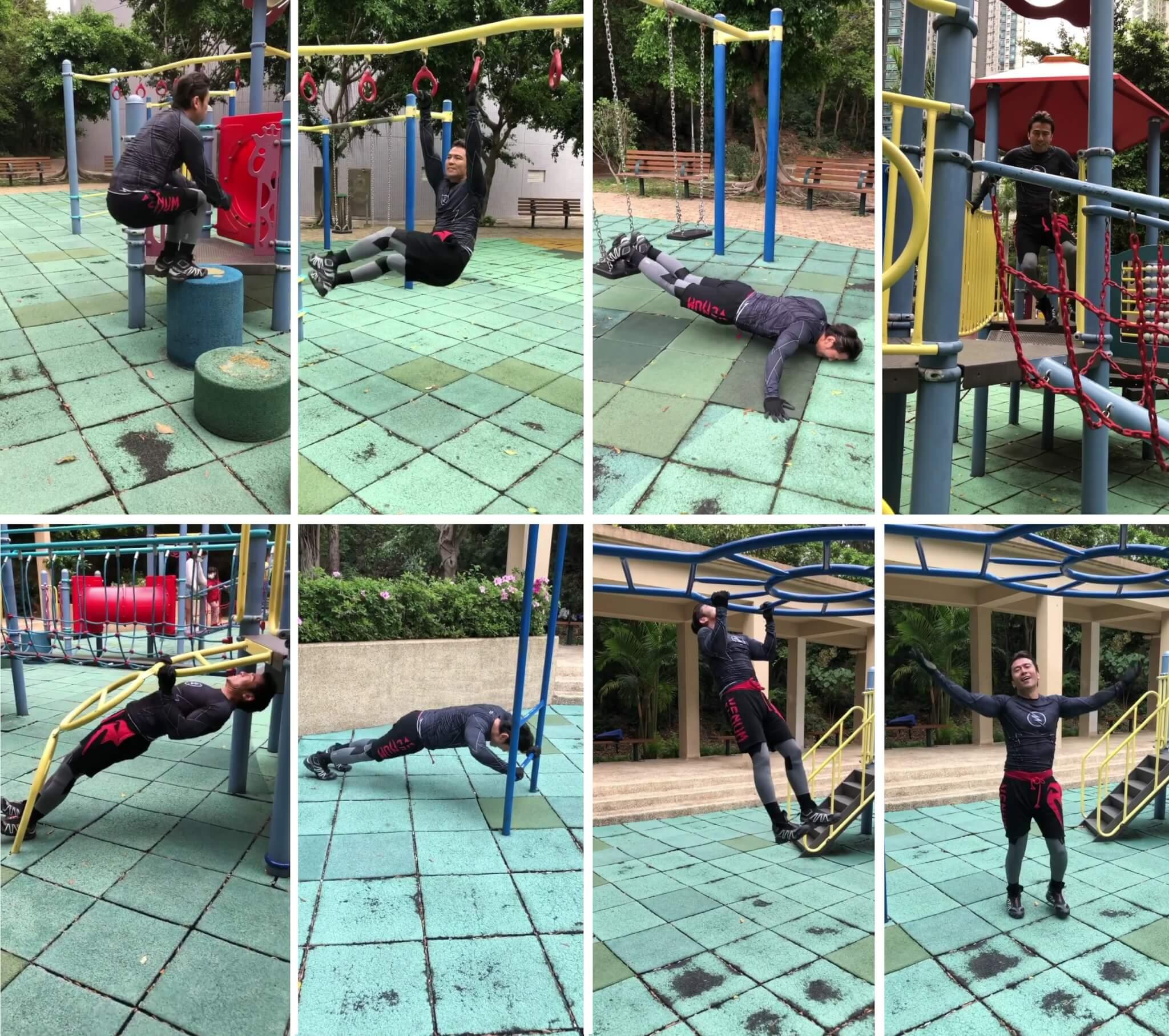 唐文龍不斷穿梭於公園遊樂設施,掌上壓、引體上升,將最基本的鍛鍊動作再加重強度,三分鐘內體能大爆發。