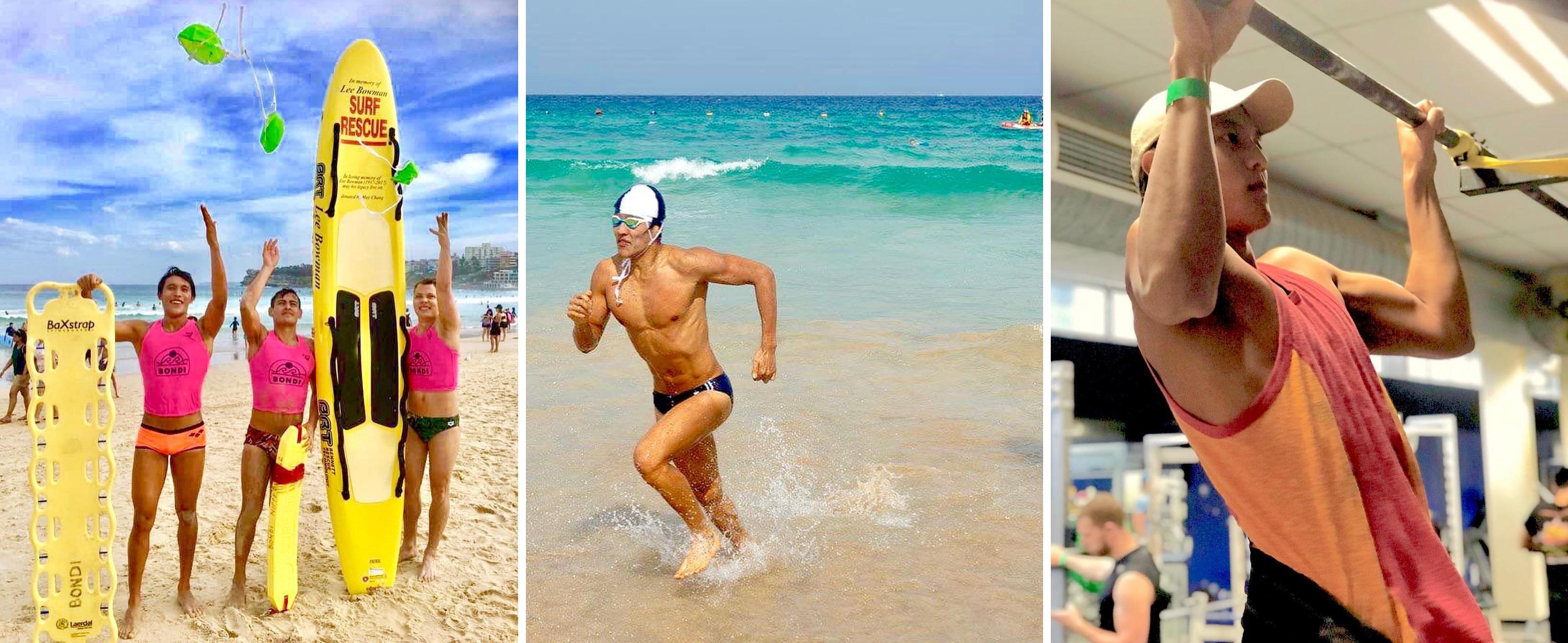 Xiang考取悉尼著名沙灘Bondi Beach的衝浪救援員資格。