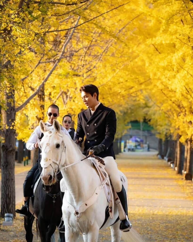李敏鎬演國王,騎着白馬耍帥。
