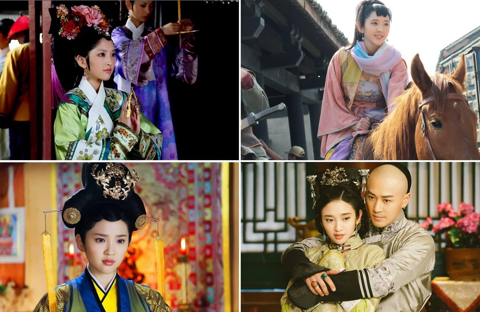 唐藝昕在2011年播出的《後宮甄嬛傳》(上左)中飾演「祺嬪」而嶄露頭角,期後又參演過電視劇《勝女的代價》、《隋唐演義》(上右)、《陸貞傳奇》(下左)、《獨步天下》(下右),慢慢踏上女主角的位置