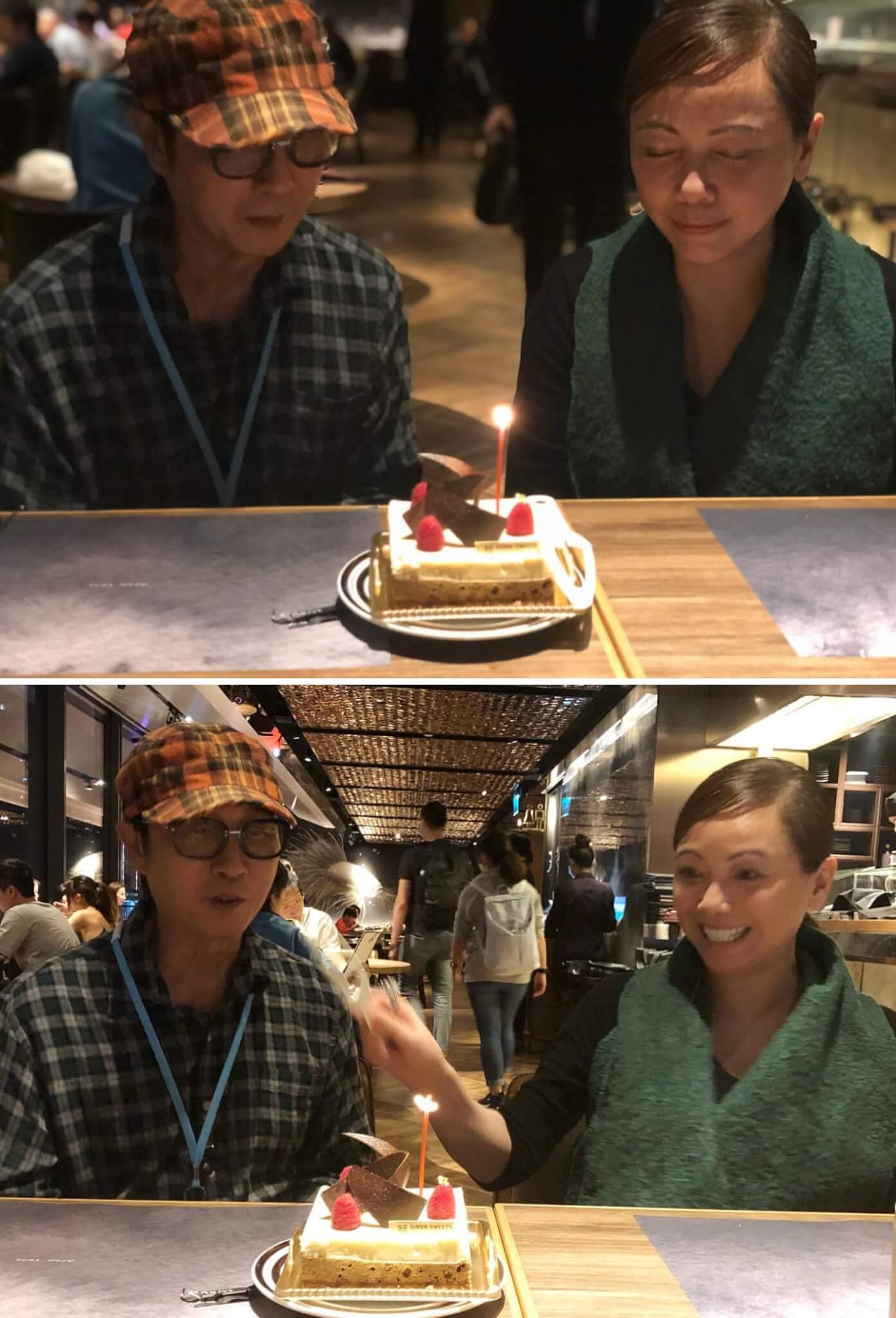 有朋友為雯女慶生,但她特地為松哥補祝生日,並上載一起對着蛋糕許願的照片。