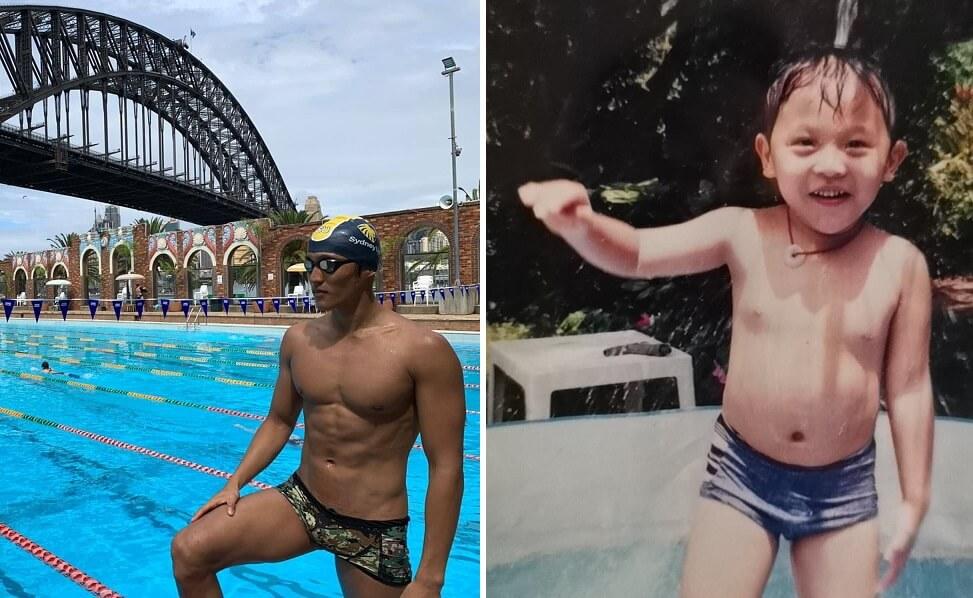 由從前的白胖小男孩成長至黑黝健碩的大男生,而且游泳成績彪炳,馬神感到相當自豪。