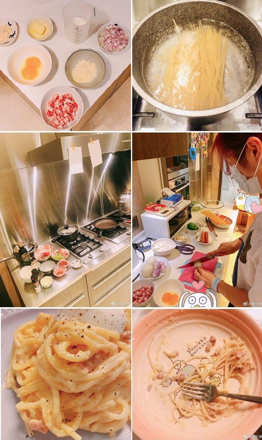 千嬅煮的煙肉奶油意大利麵,獲Torres大讚:「Ma Ma u are so amazing. u can cook !!!」