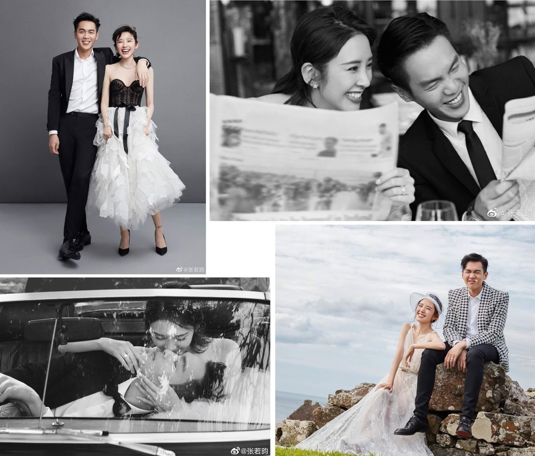 張若昀與唐藝昕去年六月底結束九年愛情長跑,於愛爾蘭一座古堡內舉行婚禮,在微博上載婚照時深情寫道:「就這樣笑一輩子吧。」