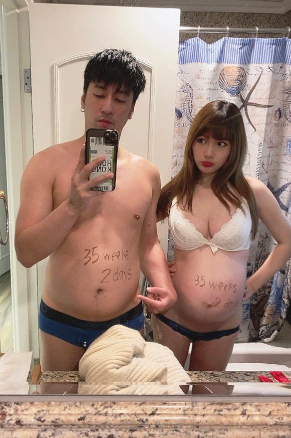 Avis答應陪胖太太,這幅懷孕三十五周的合照, Avis更似「就生得」。