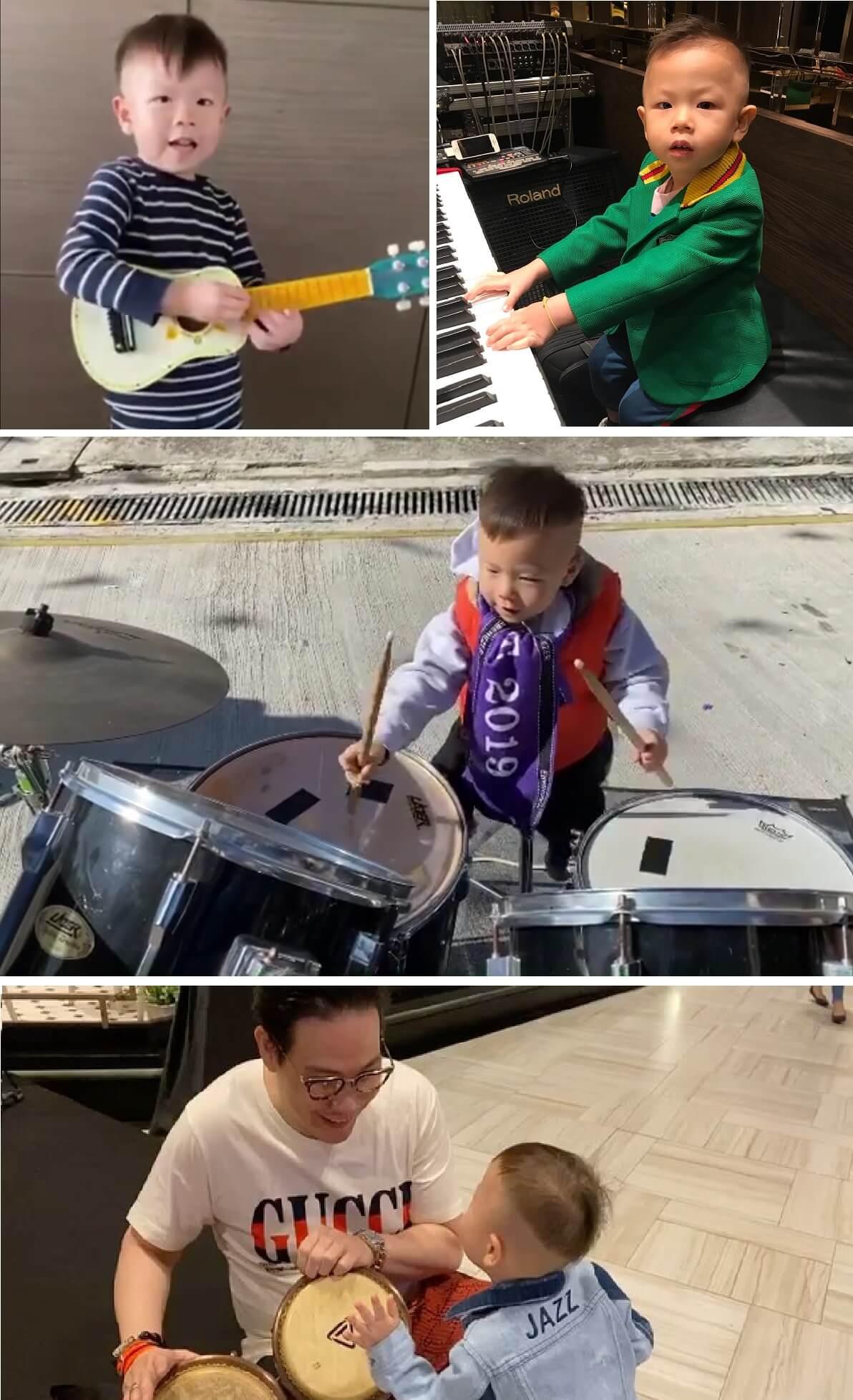 Jazz三歲人仔就識玩各樣樂器,音樂潛力無限。