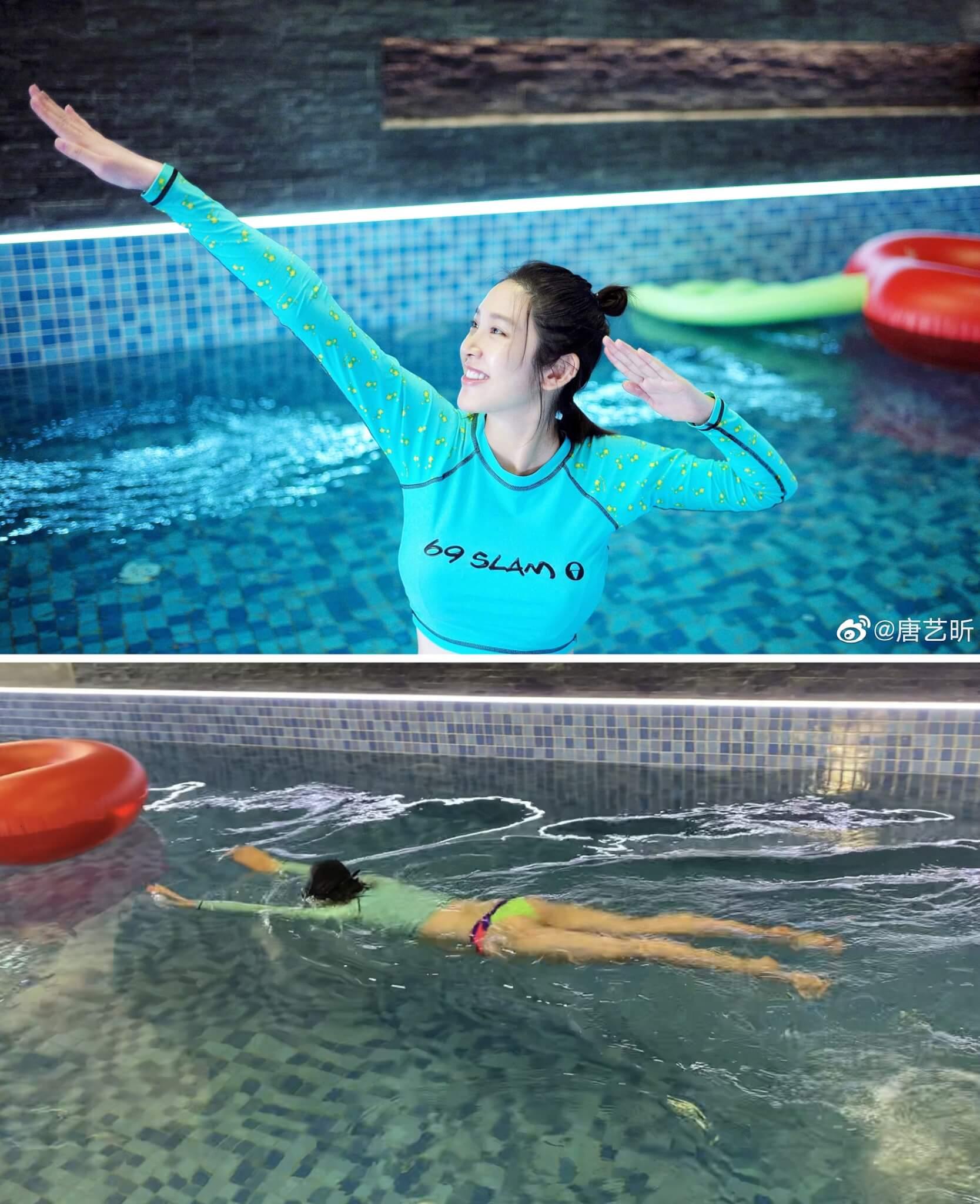 唐藝昕上月底臨盆在即,還到泳池暢泳。