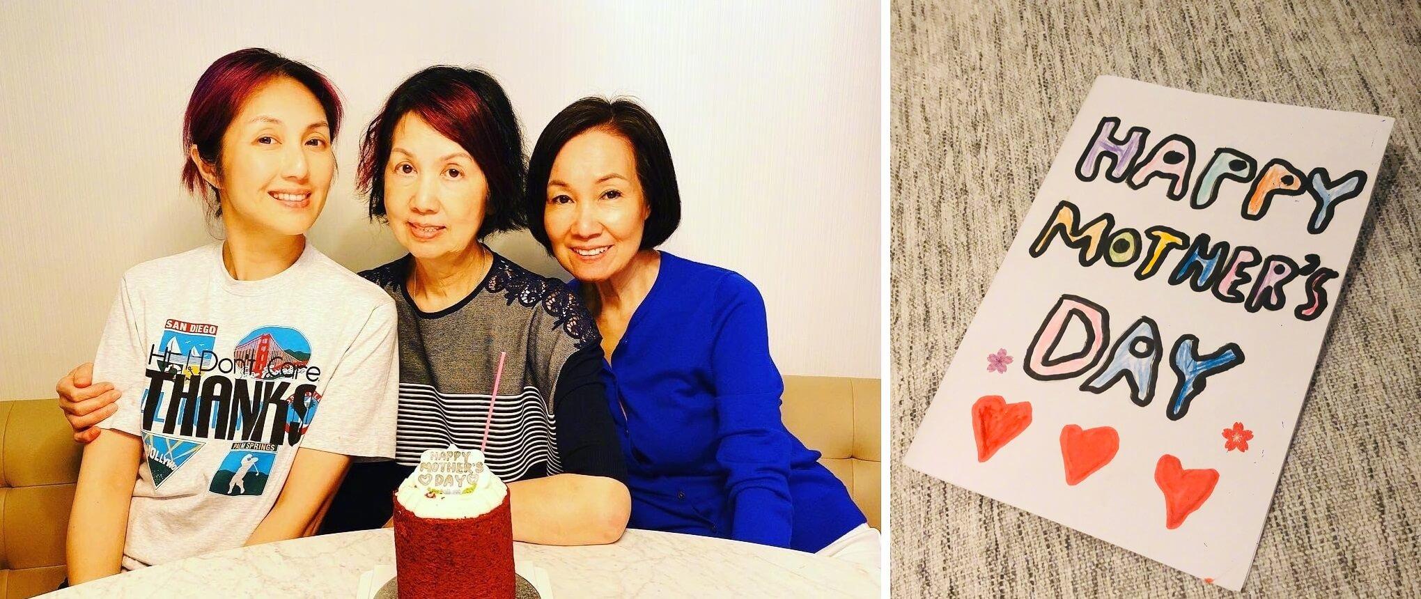 千嬅與母親及奶奶一起慶祝,她又上載了一張手畫的心意卡,可會是兒子Torres所送的禮物?