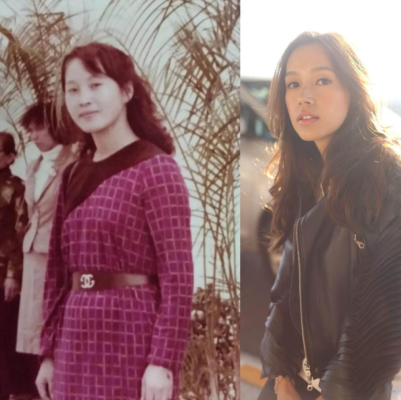 她跟母親年輕時樣貌十分相似,被網民大讚母女同樣靚女。