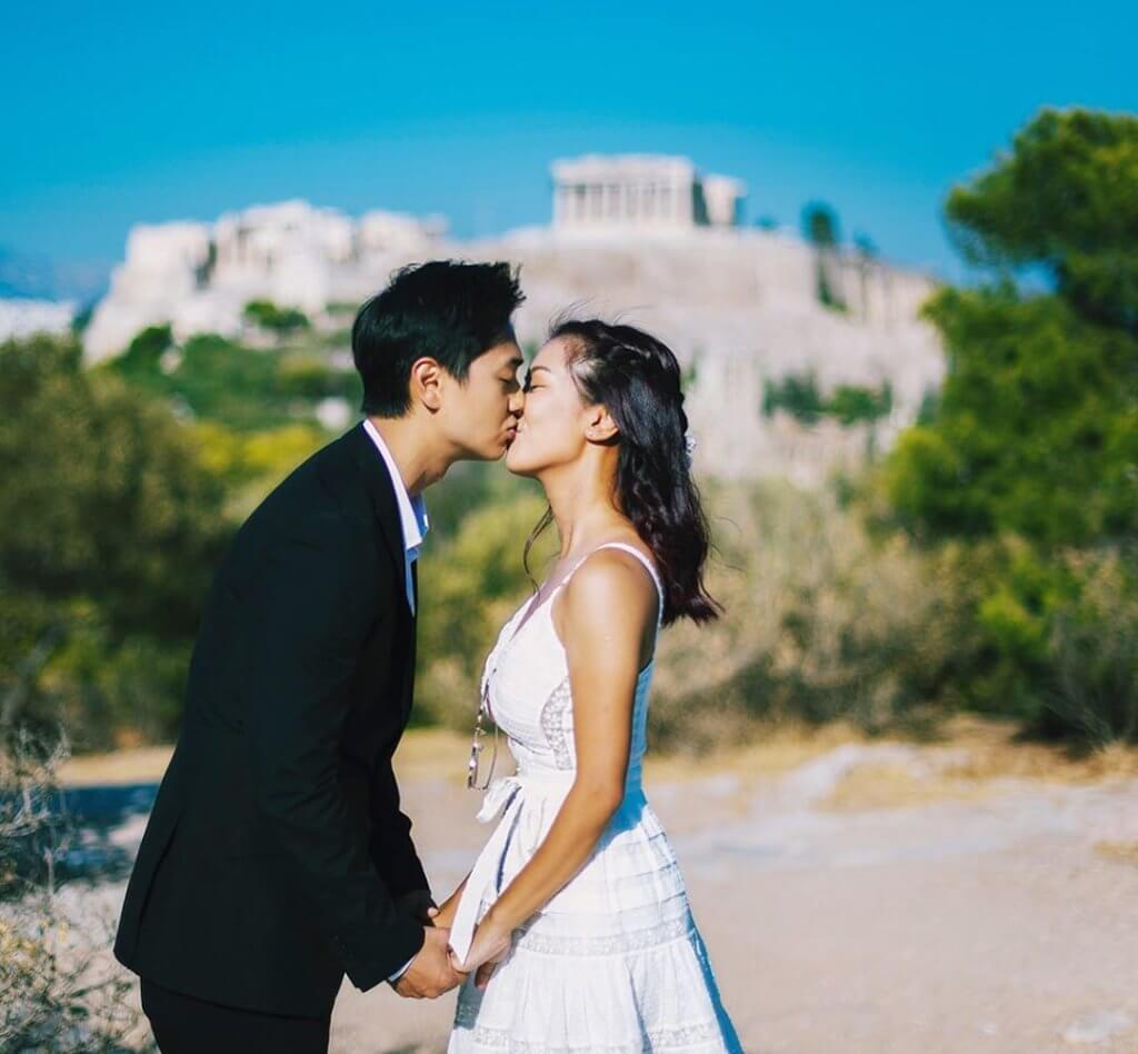 何雁詩和鄭俊弘在歐洲拍攝婚紗相